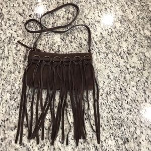 Nordstrom Fringed Sues Chocolate Brown Crossbody